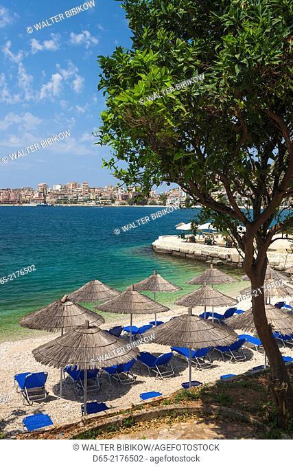 Albania, Albanian Riviera, Saranda, beachfront along the Ionian Sea