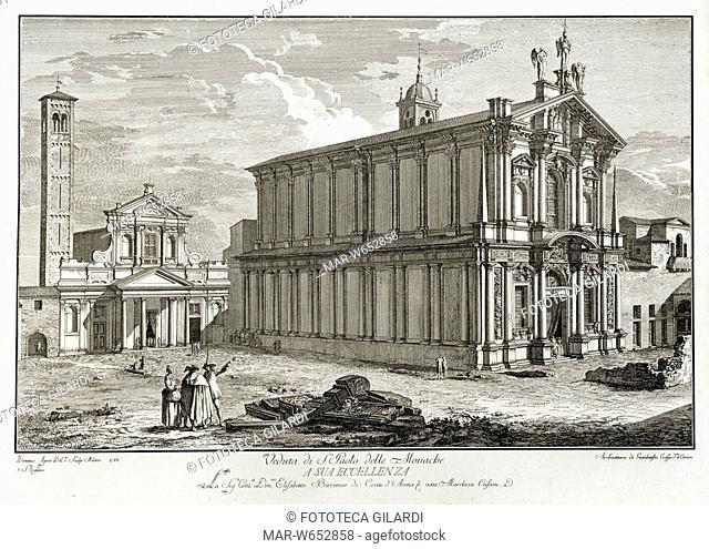 MILANO Veduta della Chiesa di S. Paolo delle Monache (San Paolo Converso), incisione su rame di Domenico Aspari (1745 - 1831) , da serie di vedute 1788 - 1792