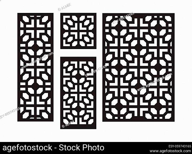Art deco laser cut pattern. Decorative panel, screen, wall. Vector cnc panels set for laser cutting. Template for interior partition, room divider