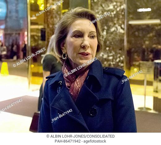 Former Republican presidential primary candidate Carly Fiorina speaks with the press in the lobby of Trump Tower following her meeting with President-elect...