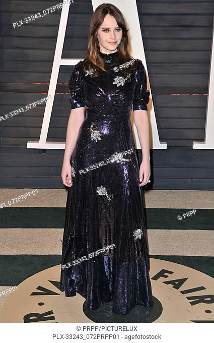 Felicity Jones at the 2017 Vanity Fair Oscar Party held at the Wallis Annenberg Center for the Performing Arts in Beverly Hills, CA on Sunday, February 26, 2017