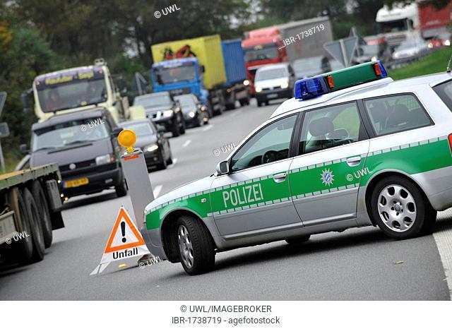 Police checkpoint on the Autobahn A8, motorway, near Rosenheim, Bavaria, Germany, Europe
