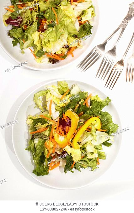 fresh summer salad with yellow paprika and carrot strips on a white plate