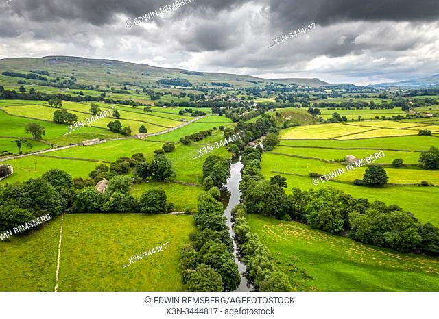A river cutting through the Yorkshire dales, United Kingdom