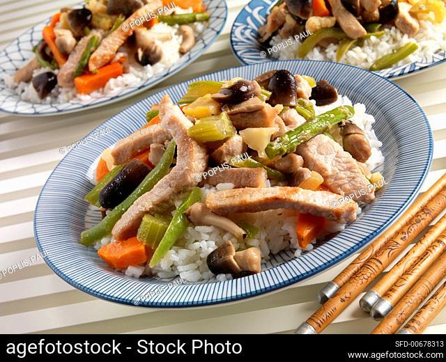 Pork Stir Fry with Straw Mushrooms, Asparagus, Pea Pods and Carrots