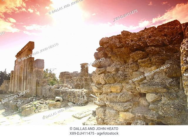 Africa, Tunisia, Ancient Punic and Roman Ruins at Utica Archaeological Site