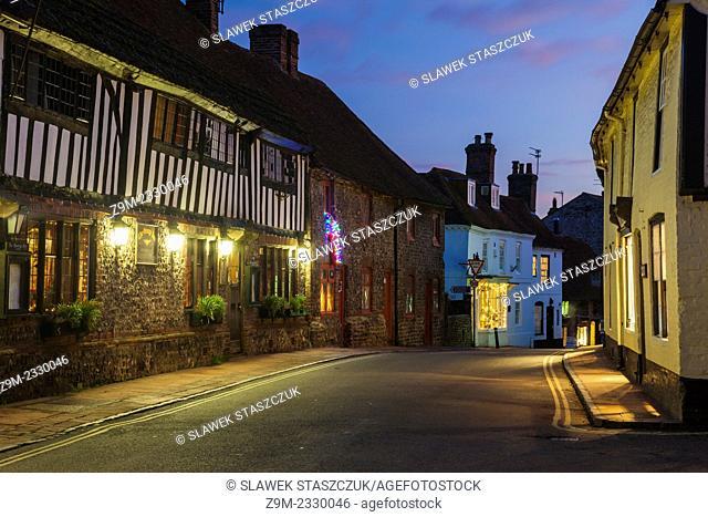 Dusk on High Street in Alfriston, East Sussex, England, United Kingdom
