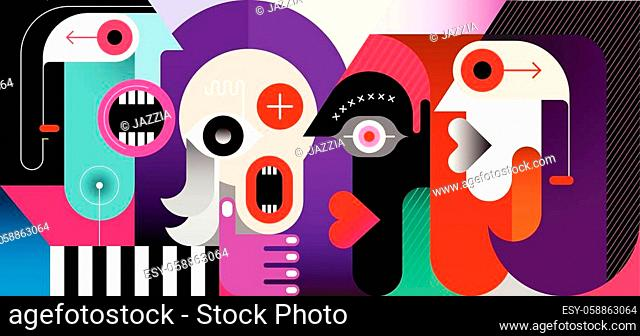 Meeting of Four People modern art vector illustration. Four friends are talking