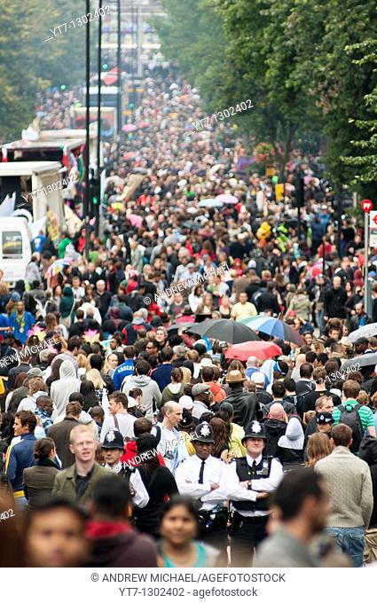 A crowded Labroke grove at the Notting Hill Carnival 2010, London, England