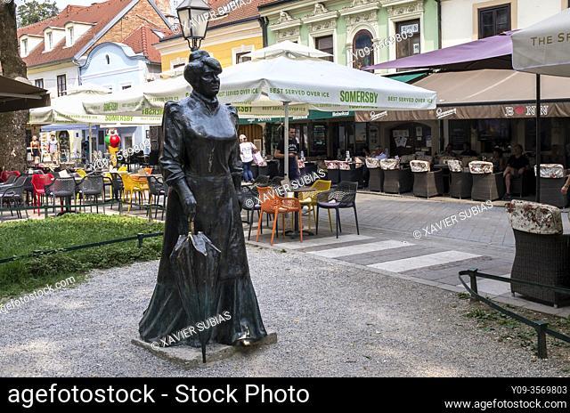 Sculpture Croatian writer and journalist Marija Juric Zagorka, Zagreb, Croatia
