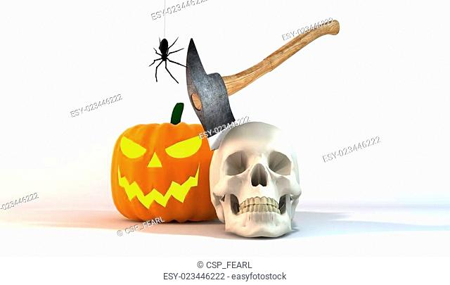 Axe Skull Halloween Still life