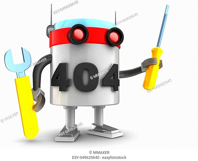 3d illustration of robot with repair tools over white background