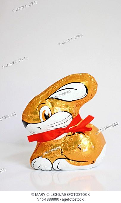 Small molded chocolate bunny in gold foil  White ear and big white mouth  Has red ribbon about neck  Hollow chocolate  Side view  Crouching bunny  White...