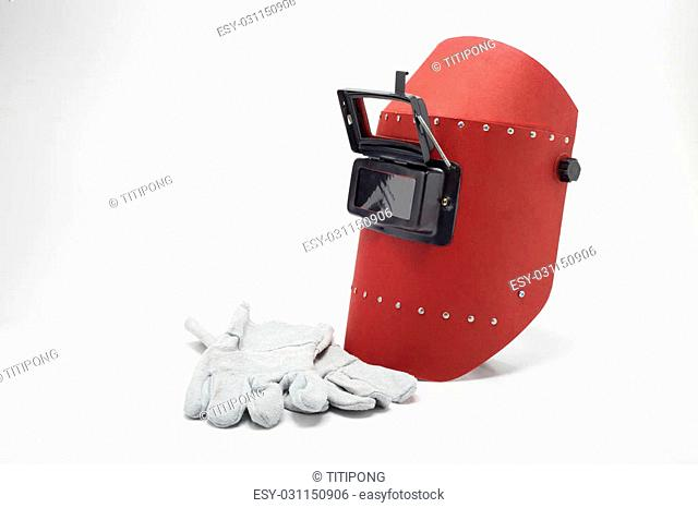 Welding mask and gloves on a white background