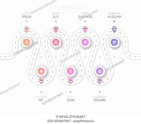 Navigation map infographic 7 steps timeline concept. Winding white road. Vector illustration