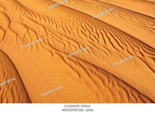 Algeria, Tassili n' Ajjer, sand ripples on a desert dune at Sahara