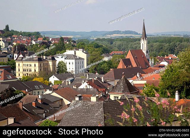 View of cityscape of Melk from Melk Abbey, Melk lower Austria, Austria