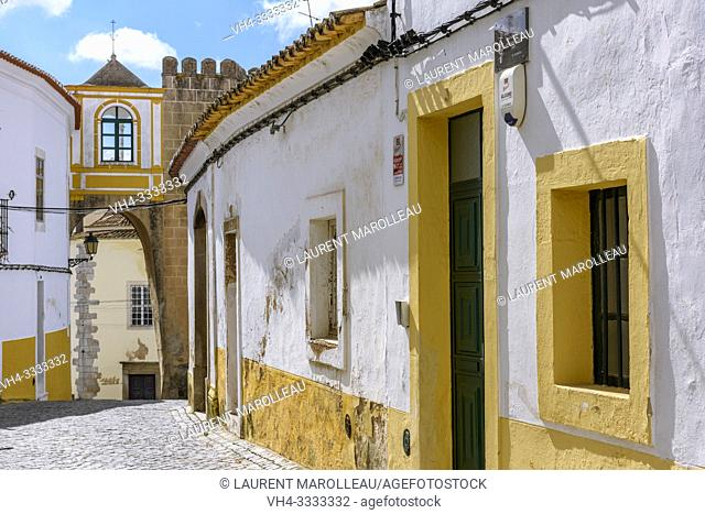 Arch of Santa Clara and typical narrow street in the historic town of Elvas, Garrison Border Town of Elvas and its Fortifications, Portalegre District
