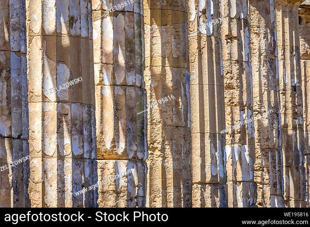 Columns of Doric order Temple E also called Temple of Hera in Selinunte ancient Greek city on the south western coast of Sicily in Italy