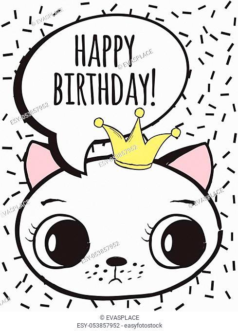 happy birthday card, illustration in vector format
