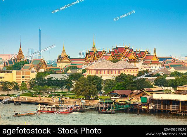 The Grand Palace of Bangkok, Phra Borom Maha Ratcha Wang, shot from across the Chao Phraya River. Thailand
