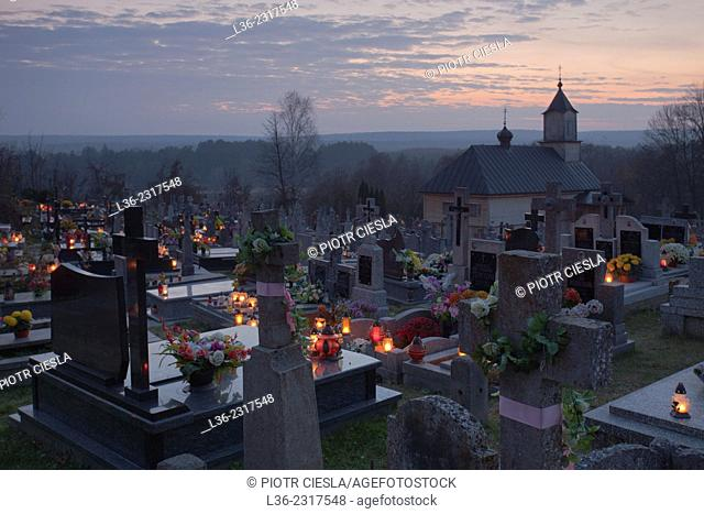 All Saints Day. Poland. Podlasie region. Cemetery