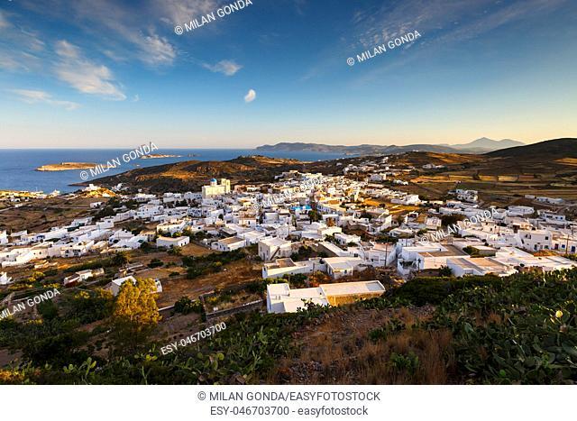 Chora village on Kimolos and Milos island in the distance.