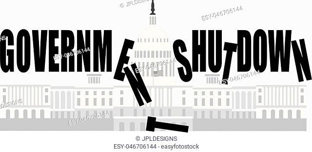 Washington DC US Capitol Building Government Shutdown Illustration