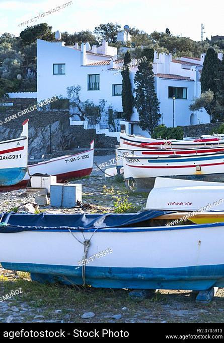 Boats, Salvador Dali House Museum, Portlligat, Cadaques village, Alt Emporda, Emporda region, Girona Province, Catalonia, Spain
