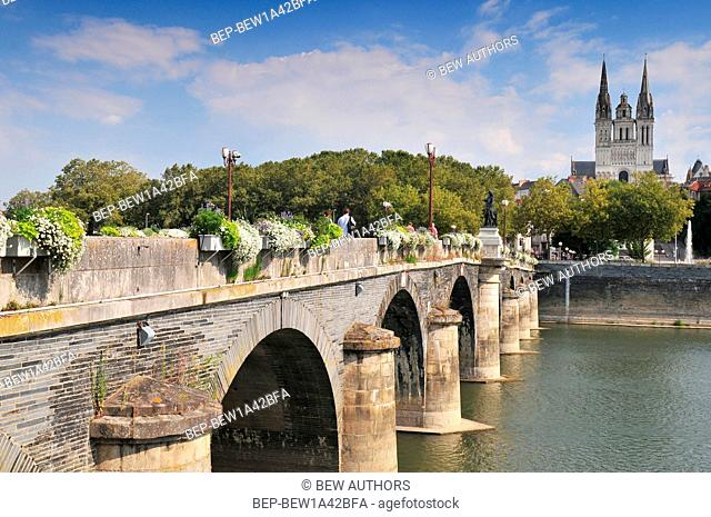 View of Angars with bridge and cathedral St Maurice France
