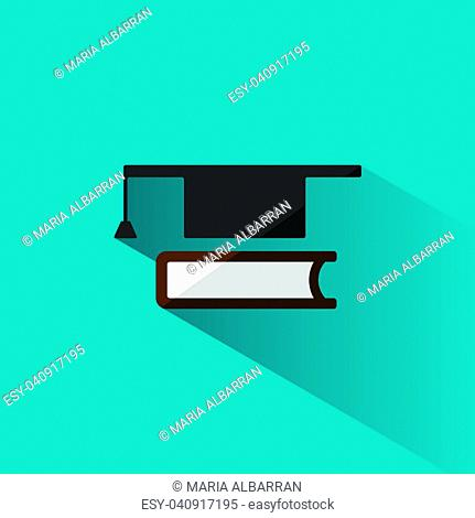 Mortarboard with book icon on blue background with shade illustration