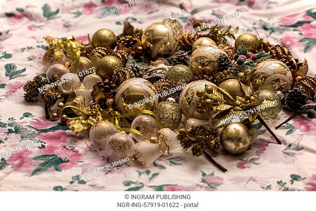 Christmas decoration on textile background top view