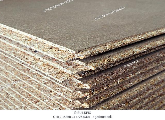 Stack of oriented strand - chipboard