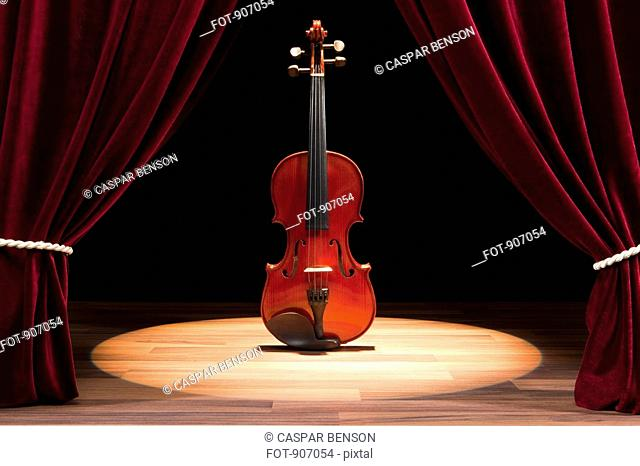 A Double Bass On A Theatre Stage