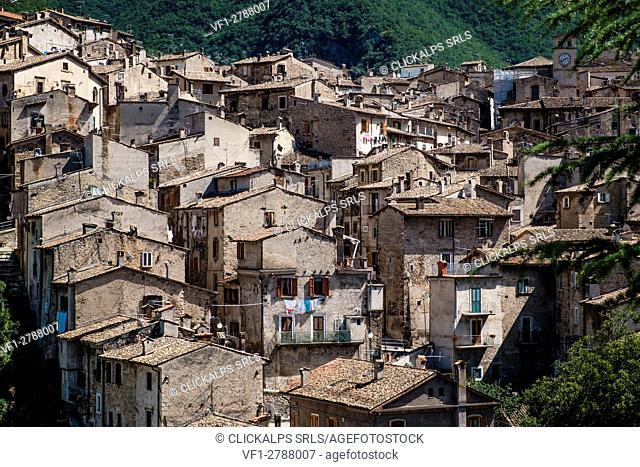 Scanno, Abruzzo, Italy, Europe. View of medieval Scanno village