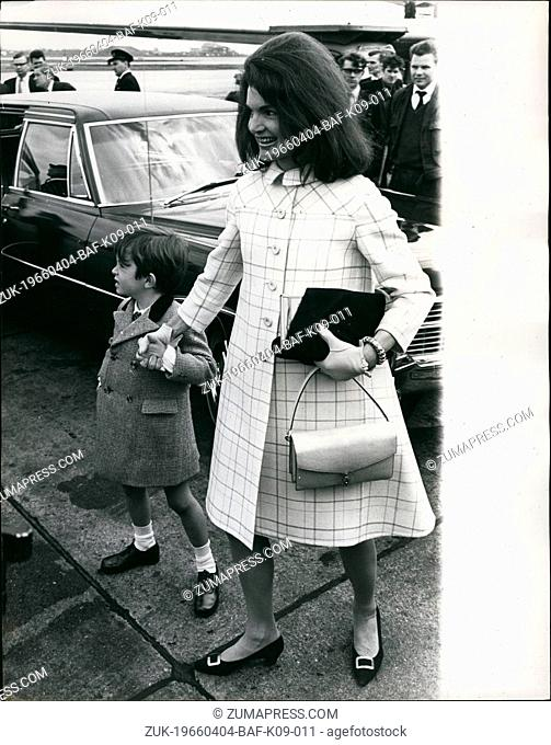 Apr. 04, 1966 - Jackie Kennedy in London.: Mrs. Jacqueline Kennedy, widow of the former U.S. President, who flew into London yesterday from Madrid fro a short...