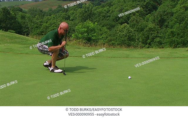 Golfer sinks putt on green