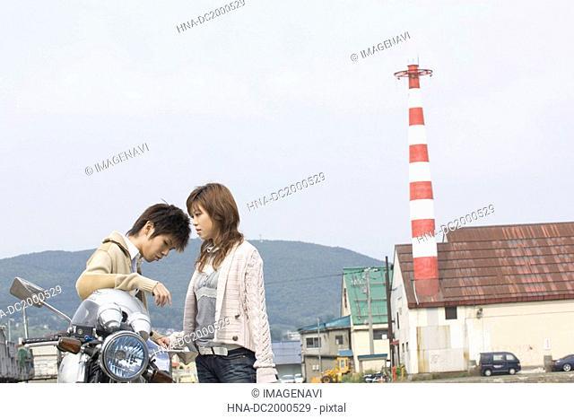 Young couple outside