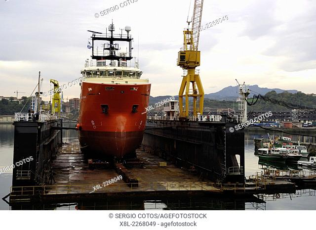 Construction of sea rescue boat in the port of Pasajes, Guipúzcoa, Basque Country, Spain