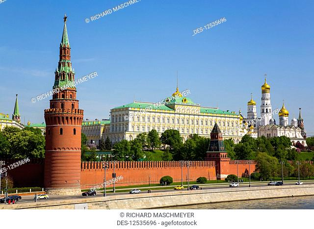 Water Supplying Tower (left), Grand Palace (right), Moscow River, Kremlin; Moscow, Russia