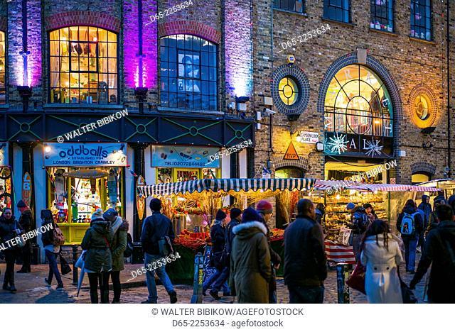 England, London, Camden, Camden Market, Market Hall exterior, dusk