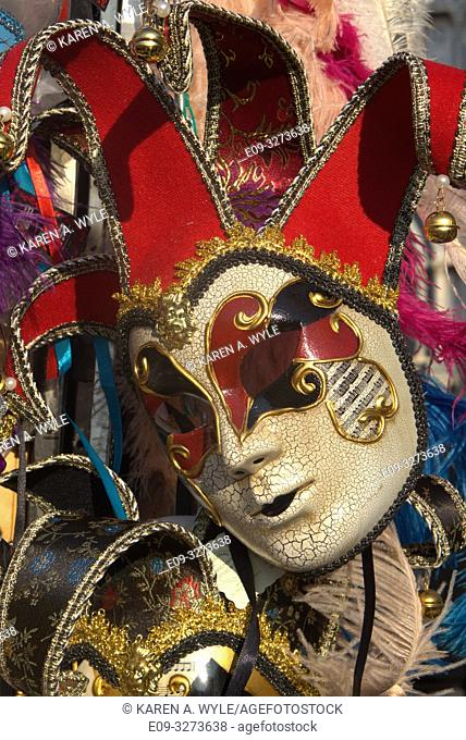 jester-style Carnevale mask for sale in Piazza San Marco, Venice, Italy