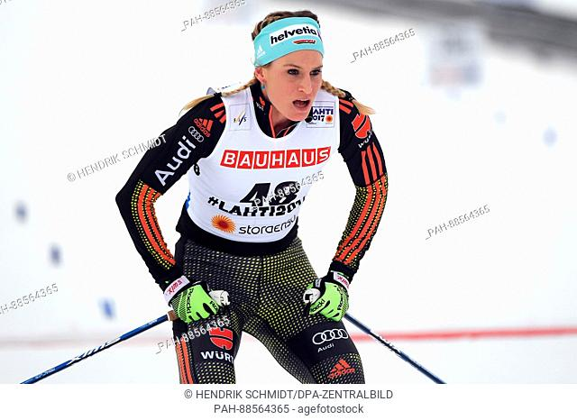 German Nicole Fessel at the finish line during the women's cross country 10km event at the Nordic Ski World Championship in Lahti, Finland, 28 February 2017