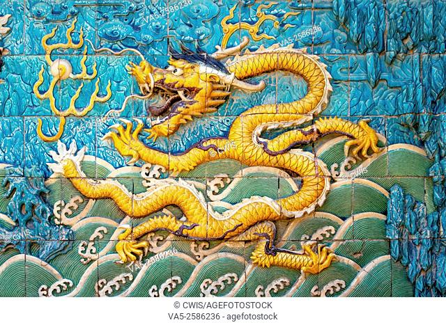 Beijing, China - Close up of the dragon on the Nine-Dragon Wall at Forbidden City