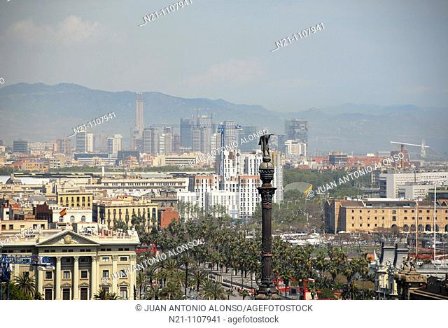 Columbus Monument and new business area in the background. Barcelona. Catalonia,  Spain, Europe