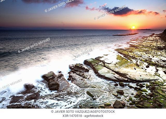Sunset on the coast of Tarifa, near Gibraltar Strait