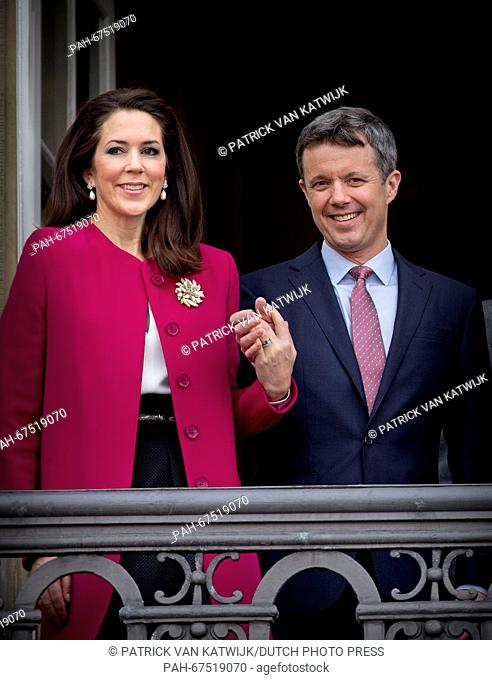 Crown Prince Frederik and Crown Princess Mary of Denmark during the 76th birthday celebration of Queen Margrethe at the balcony of Amalienborg Palace, Denmark