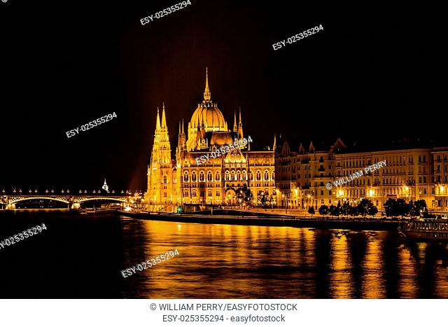 Parliament Building Boats Danube River Reflection Budapest Hungary. Parliament Building built betwwn 1885 to 1904
