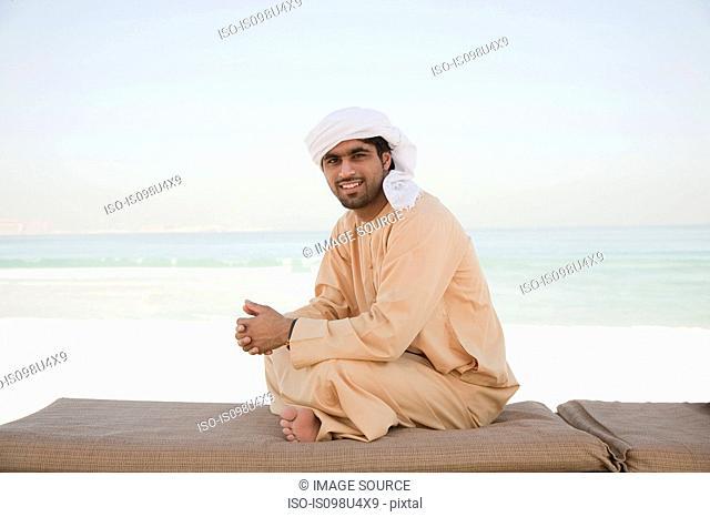 Middle Eastern man wearing headdress, portrait