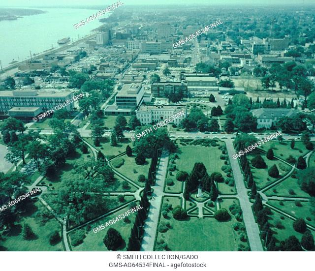 View of city and waterfront from the top of the captiol building Baton Rouge, Louisiana, 1967